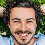 lachende man